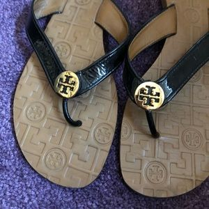 Tory Burch Blue Thora Patent Leather Flip-flops 8M